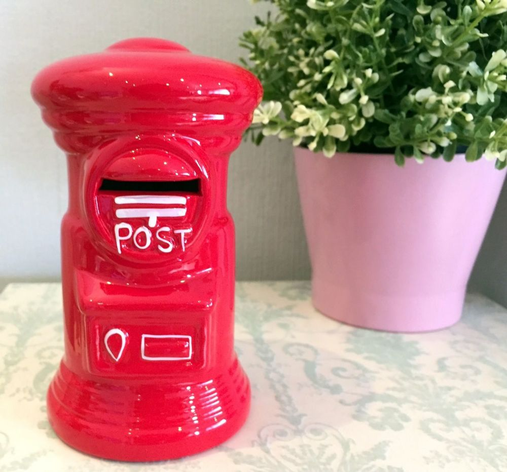 Bright Red Ceramic Traditional English Postbox Money Bank